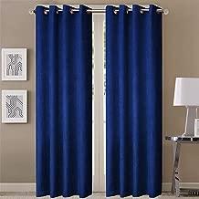 Queenzliving Elegant Solid Crushed Texture Curtain, Long Door 9 feet- Pack of 2, Navy Blue