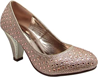 Stylish & Comfort Women's Round Toe Party/Performance Shoe Gem Rhinestone Chunky Mid-Height Heel Pumps