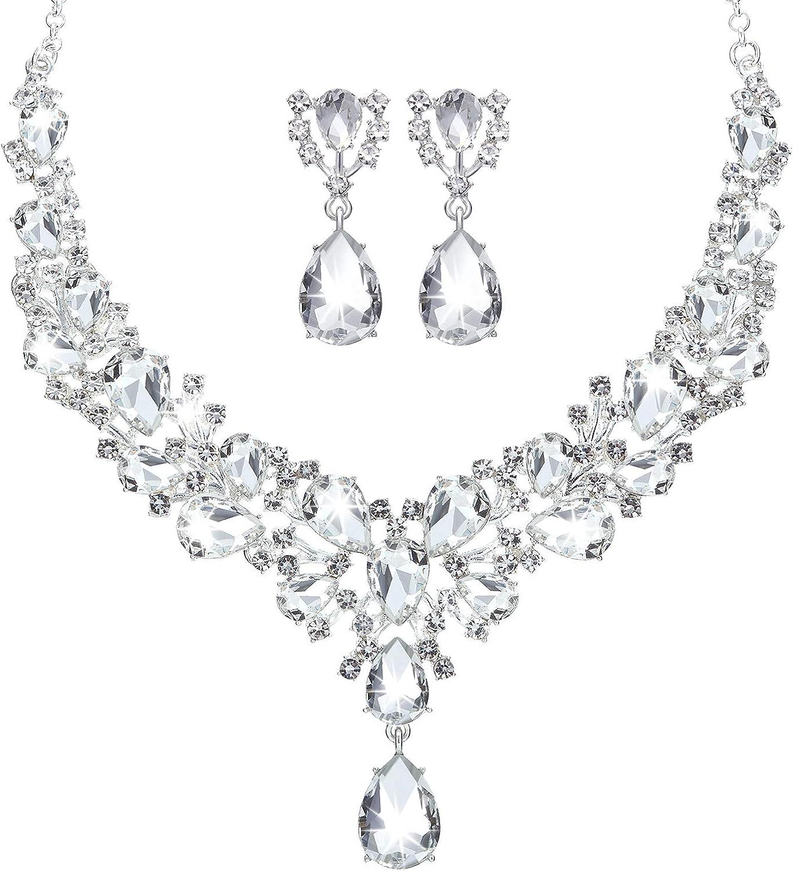 Hicarer Bridal Teardrop Cluster Crystal Jewelry Set for Women Necklace Earrings Wedding