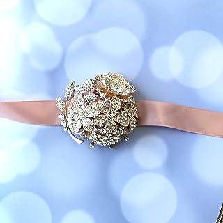 Abbie Home Handmade Full Rhinestone Covered Wrist Corsage Crystal Wedding Roses Hand Flower (Blush Pink Corsage)