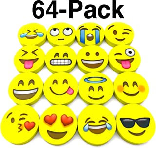 Emoji Erasers, OHill Pack of 64 Pack Emoji Pencil Erasers 16 Emoticons Novelty Erasers for Party Favors School Classroom Prizes Rewards