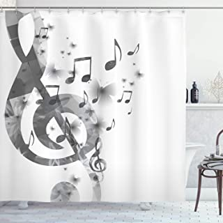 Ambesonne Music Decor Collection, Music with G-Clef Key Instrument Monochrome Creative Rhythmic Ornate Image Pattern, Polyester Fabric Bathroom Shower Curtain, 75 Inches Long, Gray White