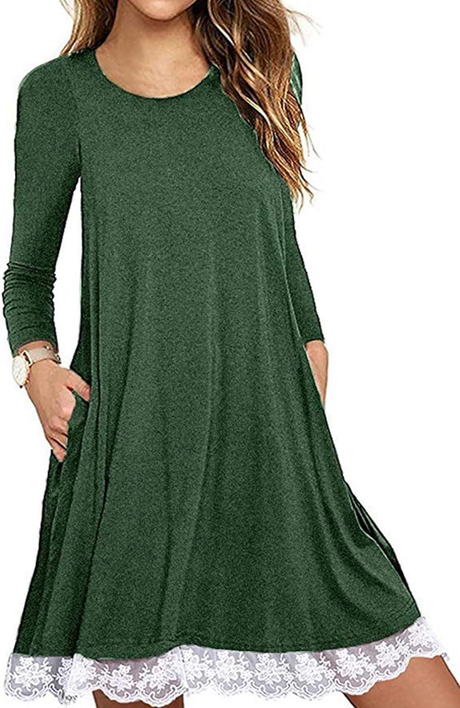 Halife Women's Summer Fall Short Sleeve/Long Sleeve Lace Hem T-Shirt Loose Dress with Pockets