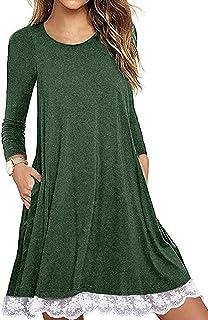 Halife Women's Summer Short Sleeve Lace Hem T-Shirt Loose Dress with Pockets