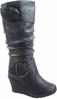 Pure-65 Women's Fashion Round Toe Slouch Buckle Wedge Mid Calf Boot Shoes