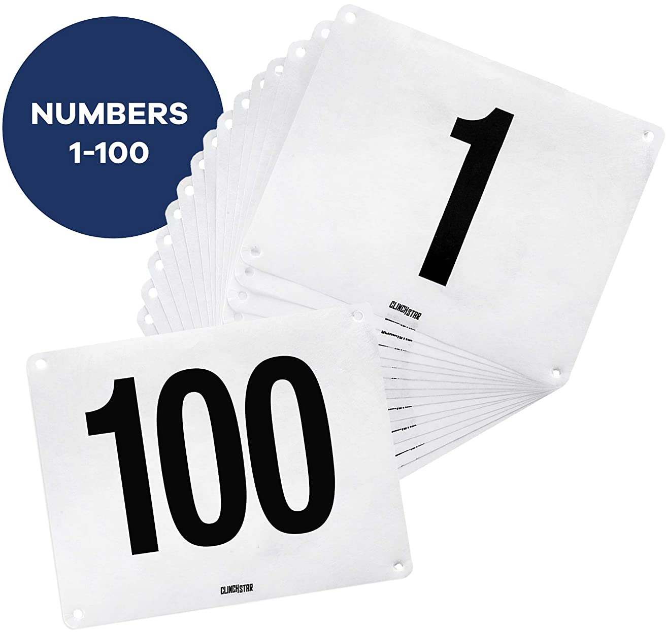 Clinch Star Running Bib Replacements - Large Numbers for Marathon Races and Events - Tyvek Tearproof and Waterproof 6 X 7.5 Inches (Safety Pins Not Included)