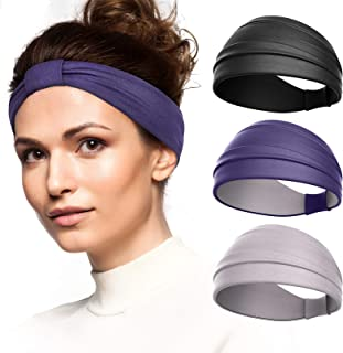Vinsguir 3 Pack Headbands for Women Fashion Yoga Headbands Sports Workout Hair Bands (3 Color: Black. Gray, Purple)