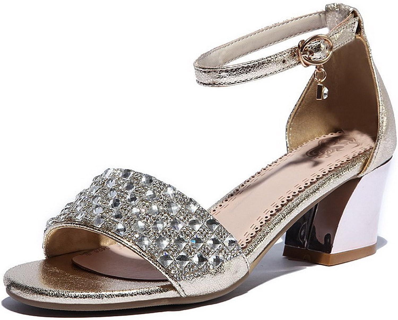 AllhqFashion Women's Buckle Kitten-Heels Cow Leather Solid Open-Toe Sandals