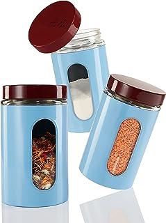 Elwin Neiles® ☀️ Boîte de conservation sans plastique [1 L/lot de 3] avec couvercle à visser et fenêtre – Récipient de ran...