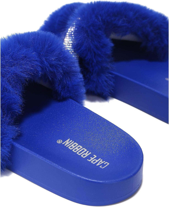 Cape Robbin Cassette Furry Faux Fur Slides Slippers for Women, Fluffy Slippers - Blue Size 7