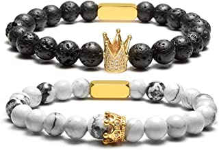Top Plaza Personalized Custom Couples Lover His Queen Her King Bracelets Name Words Engraving 8MM Natural Lava Rock White Turquoise Stone Beads Stretch Bracelet