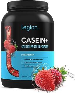 Legion Casein+ Strawberry Pure Micellar Casein Protein Powder-Non-GMO Grass Fed Cow Milk, Natural Flavors & Stevia, Low Ca...