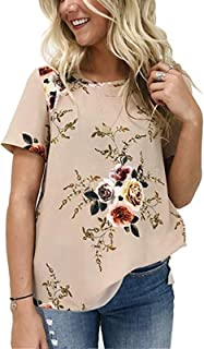 Women's Casual O Neck Floral Print T-Shirt Chiffon Short Sleeve Tops Blouse for Summer