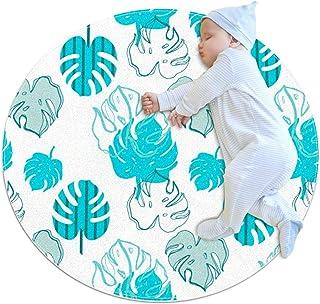Blå vit monstera, barn rund matta polyester överkast matta mjuk pedagogisk tvättbar matta barnkammare tipi tält lekmatta