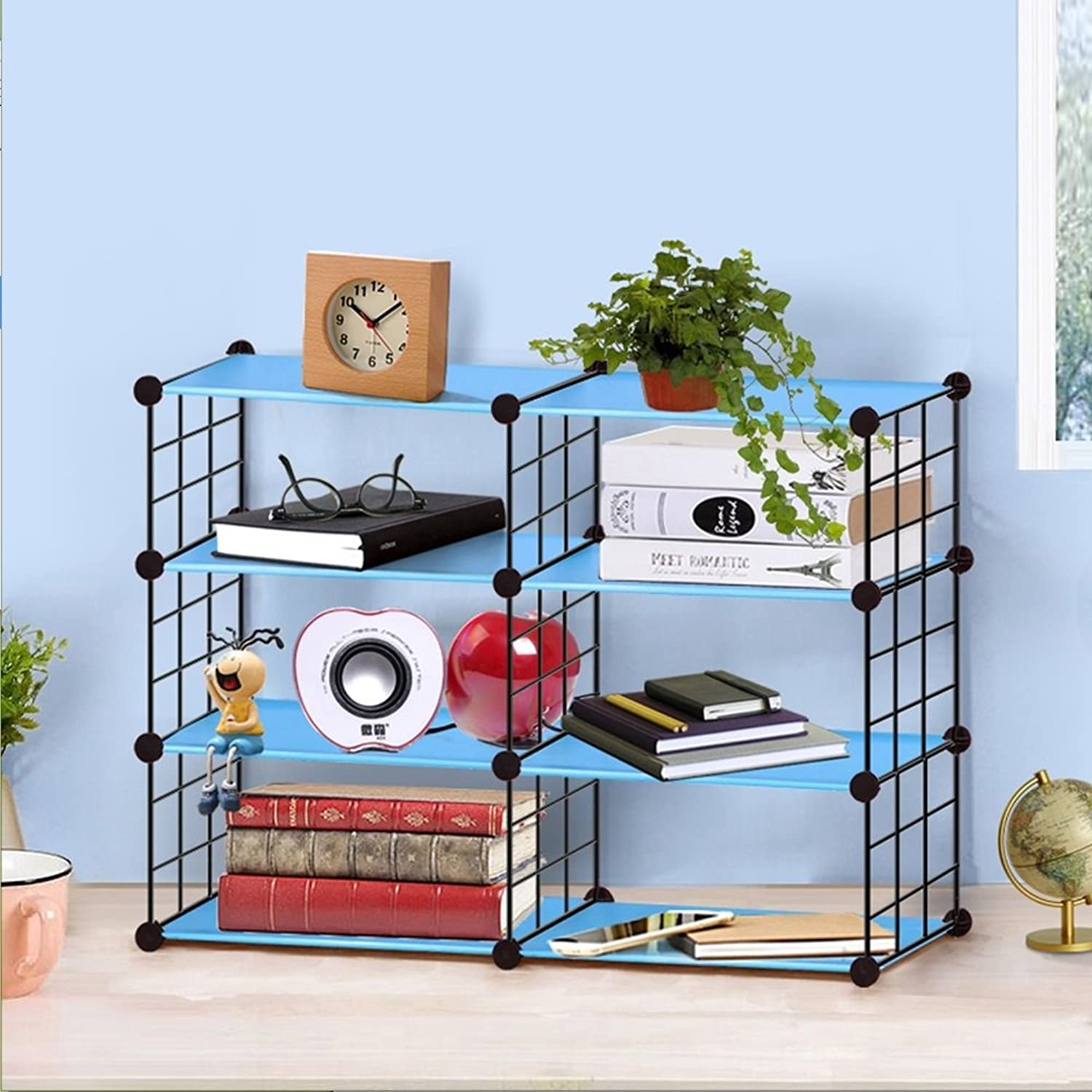 Multi-Use Modular Storage Shelving Rack, 5-Cube DIY Wire Grid Bookcase,Open Organiser Closet Cabinet for Books, Max Capacity 20kg Per Cube, bluee (Size   4 Floors 2 Columns)