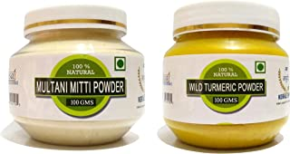 RAINTECH HERBALS Organic Wild Turmeric Powder 100gm And Multani Mitti Powder 100gm For Skin Glowing Face Mask (Combo Of 2)
