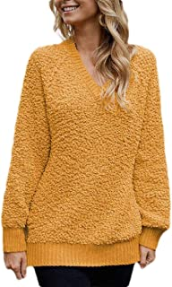 Womens Winter Fuzzy V Neck Long Sleeve Loose Chunky Knit Pullover Sweater Jumper