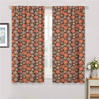 Flower Curtain Living Room Ornamental Spring Season Blooms with Dotted Background Abstract Antique Pattern Curtains for bedroo Multicolor 72 x 45 inch
