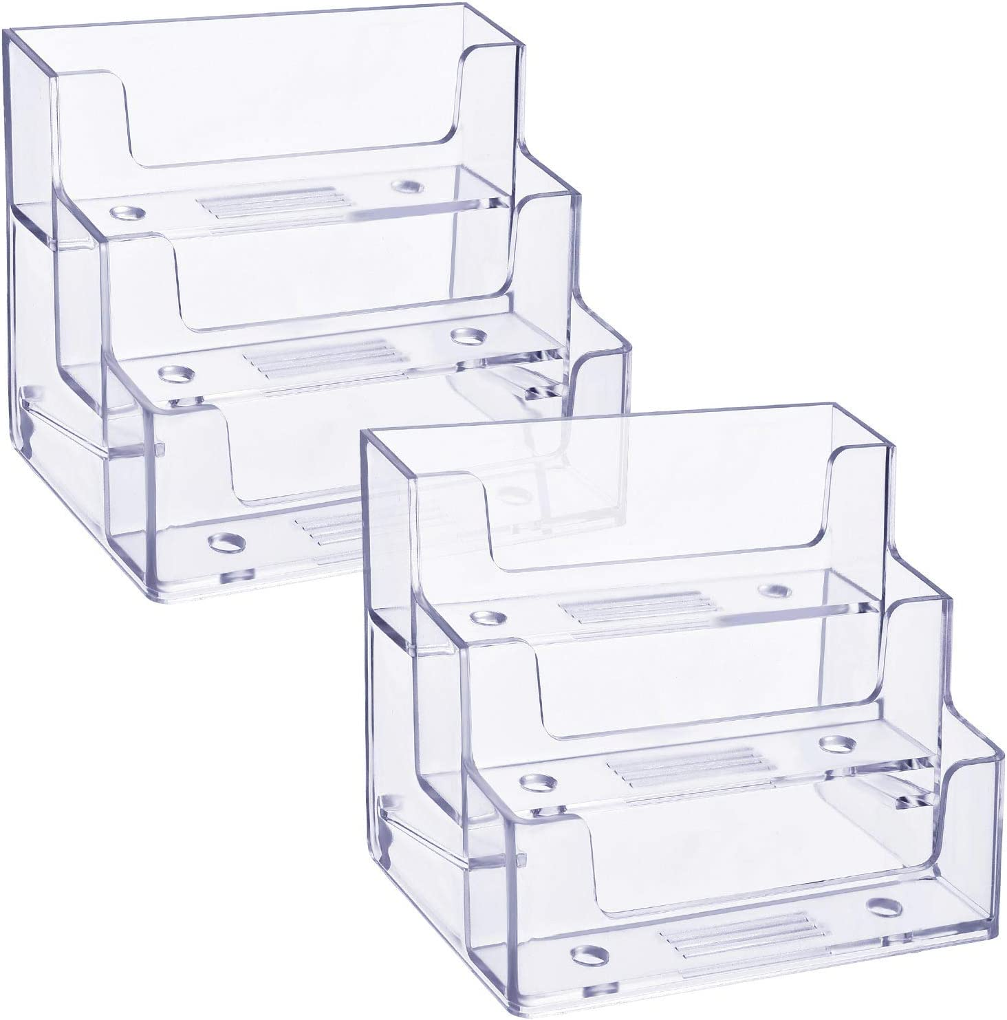TecUnite online shopping Business Card Holder 3 Plastic Tiers Stand Organiz specialty shop