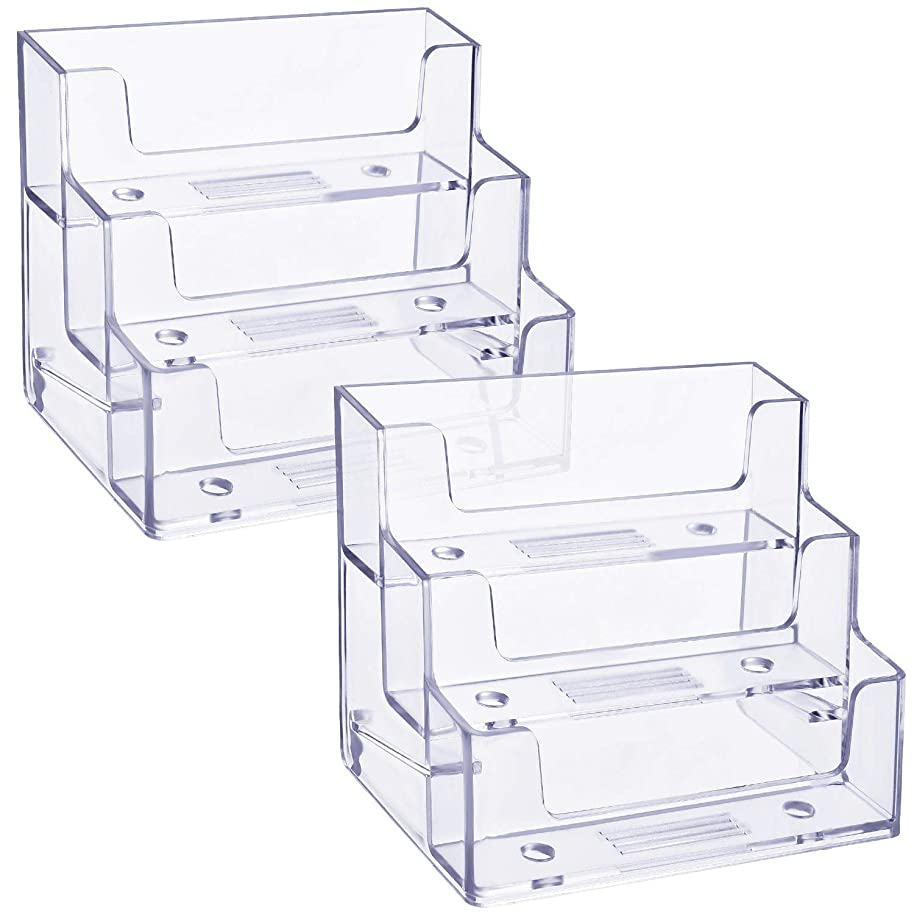 TecUnite 2 Pack Business Card Holder 3 Tiers Plastic Card Stand Organizer Clear Card Holder Display for Office, 180 Cards Capacity