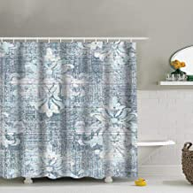 Duck Egg Blue Damask Vintage Fabric Shower Curtain, Water-Repellent Liner for Master, Guest, Kid's, College Dorm Bathroom 60X72 Inch