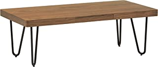 Marca Amazon -Rivet - Mesa de centro de madera y metal con patas de horquilla (nogal y negro)