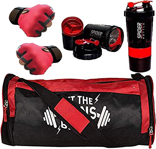 5 O' CLOCK SPORTS Men's and Women's Polyester Combo of Weight Lifting Gloves with Diet Shaker Bottle 500 ml and Fitne...