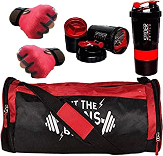 5 O' CLOCK SPORTS Men's and Women's Polyester Combo of Weight Lifting Gloves with Diet Shaker Bottle 500 ml and Fitness Gy...