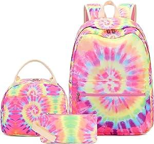 Girls School Backpack Galaxy Schoolbag Laptop Bookbag Insulated Lunch Tote Bag Purse Teens Boys Kids (Spiral- Yellow Pink)