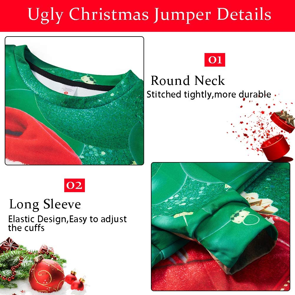 ALISISTER Pull Noel Homme Femme 3D Ugly Christmas Jumpers /à Manches Longues Funny No/ël Imprim/é Pullover Sweatshirt S-3XL