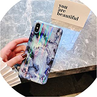 Luxury Laser Glossy Kickstand Holder Marble Phone Case for iPhone 7 8 Plus X 6 S Plus Soft Silicone Case for iPhone XR XS Max,Color E,for iPhone 8