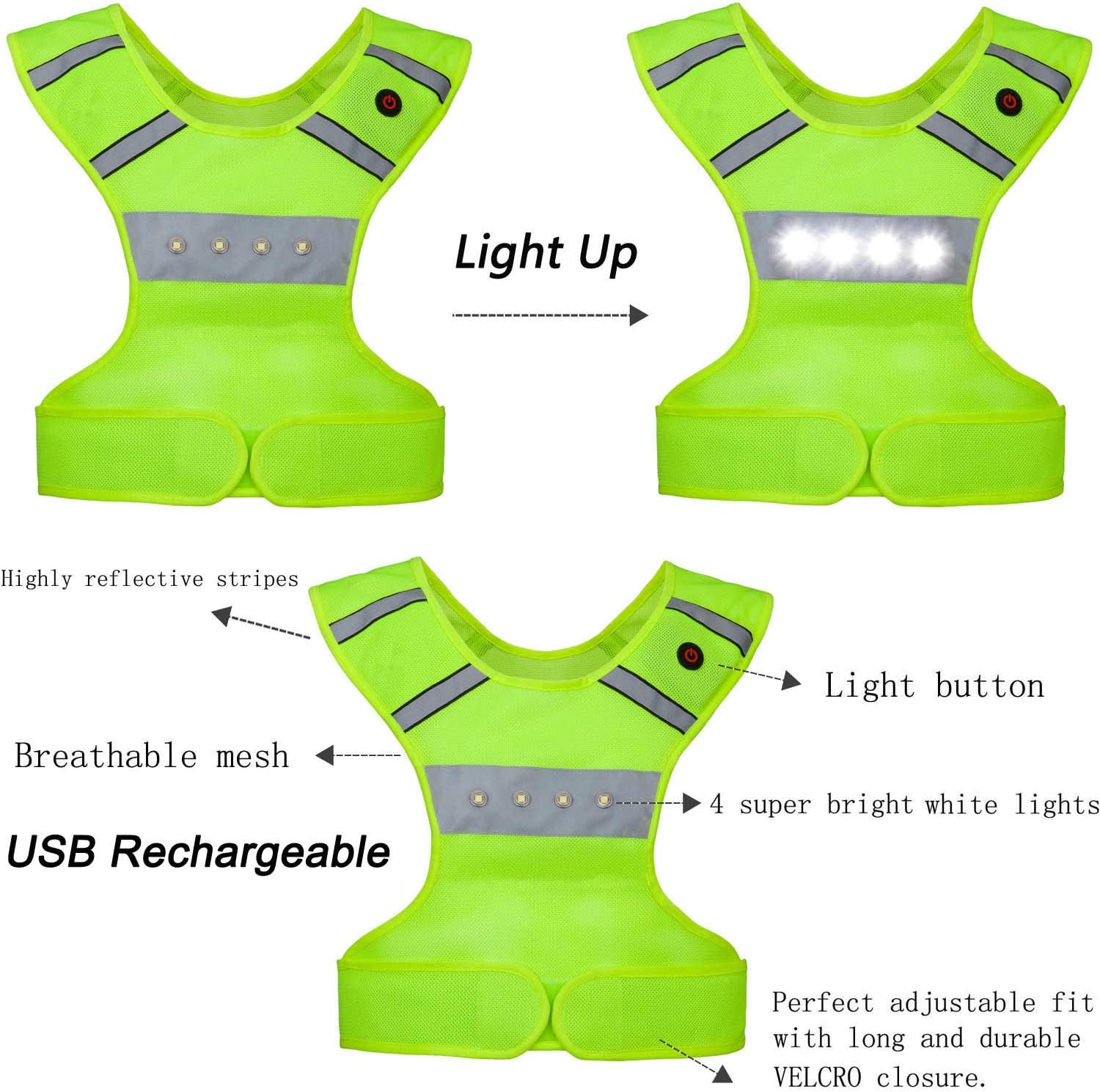 Machine Washable USB Rechargeable Safety Gear /& Gifts for Men Women Kids Runners Adjustable Waist Flashing Motorcycle Vest FYLARFLY Light Up Reflective Running Vest with LED Lights