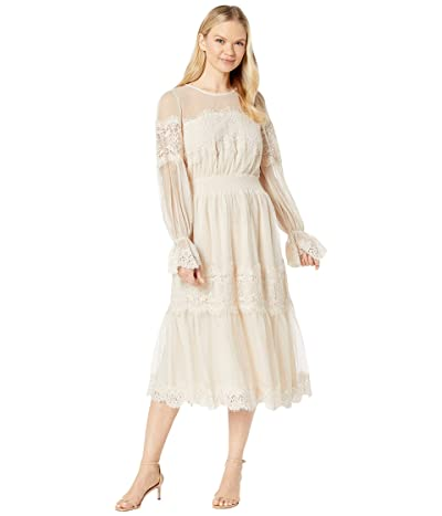 American Rose Piper Long Sleeve Dress with Lace Detail (Nude) Women