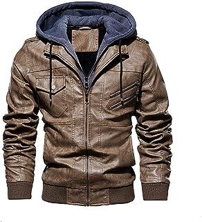 Men Pu Leather Jackets Winter New Men's Comfortable Leather Jacket Casual Hooded Leather Jacket Coat