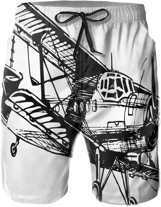 MUJAQ Drawing of A Monoplane Sketchy Stylized Ancient Monochrome Design Drawstring Waist Beach Shorts for Men Swim Trucks Board Shorts with Mesh Lining,XL