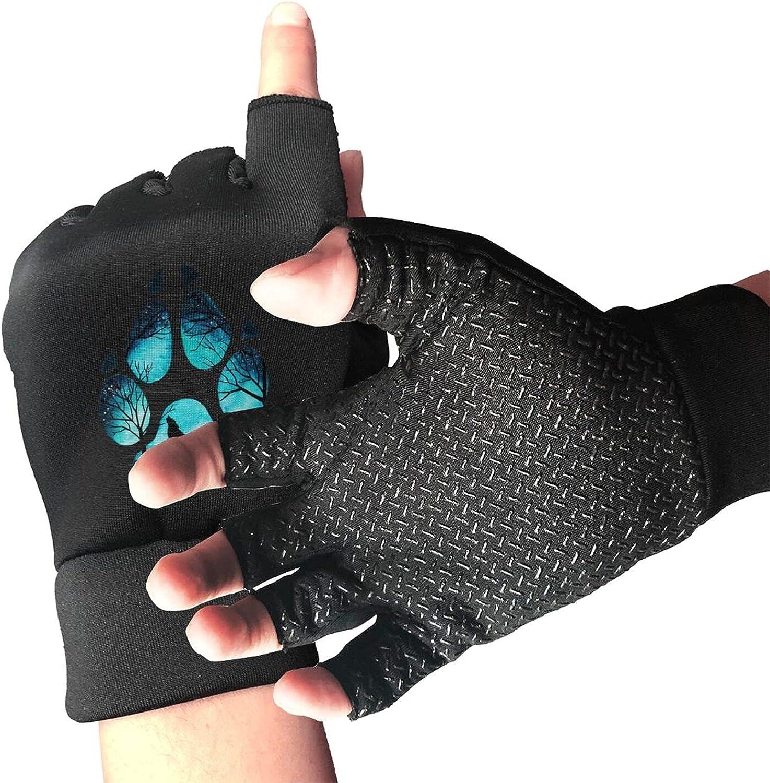Wolf Paw Galaxy Non-Slip Working Gloves Breathable Sunblock Fingerless Gloves For Women Men