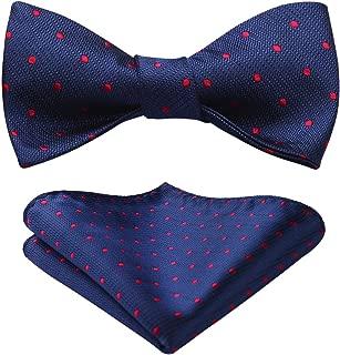 HISDERN Men's Polka Dot Wedding Party Self Bow Tie Pocket Square Set