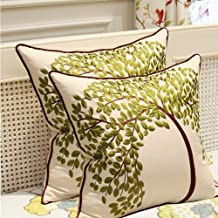 """Sideli Embroidered Cotton Linen Decorative Throw Pillow Cover Cushion Case Pillow Case18X18"""" (Green) 2PCS"""