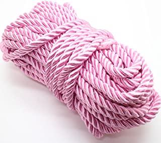 U Pick 10yds 5mm Decorative Twisted Satin Polyester Twine Cord Rope String Thread Shiny Cord Choker Thread (19:Pink)