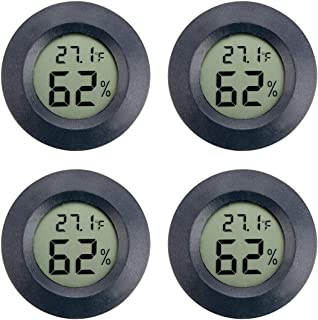 AUTIDEFY 4-Pack Mini Hygrometer Thermometer Digital LCD Monitor Indoor Outdoor Humidity Meter Gauge Fahrenheit or Celsius