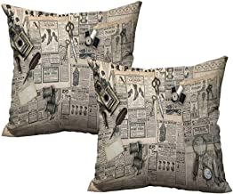 warmfamily Clock Fashion Pillowcase Antique Accessories Design Old Fashion Magazine Sewing and Writing Tools Print Without core W17 x L17 Beige and Black