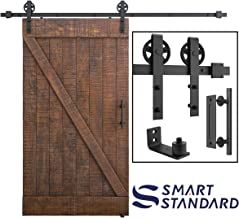 8ft Heavy Duty Sliding Barn Door Hardware Kit, 8ft Single Rail, Black, (Whole Set Includes 1x Pull Handle Set & 1x Floor Guide) Fit 48