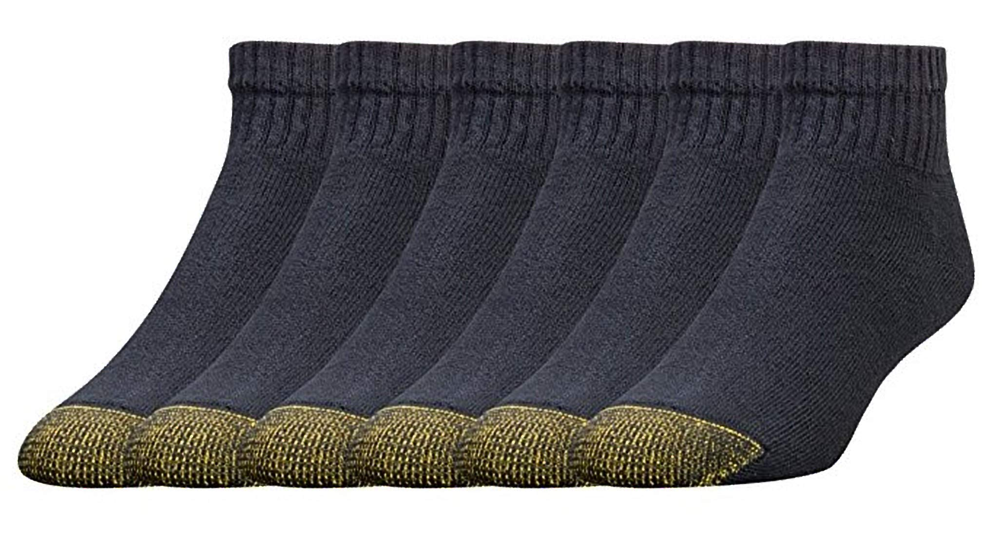 Gold Toe Men's 656P Cotton Quarter Athletic Sock (12 Pack), Black, Small 6-12