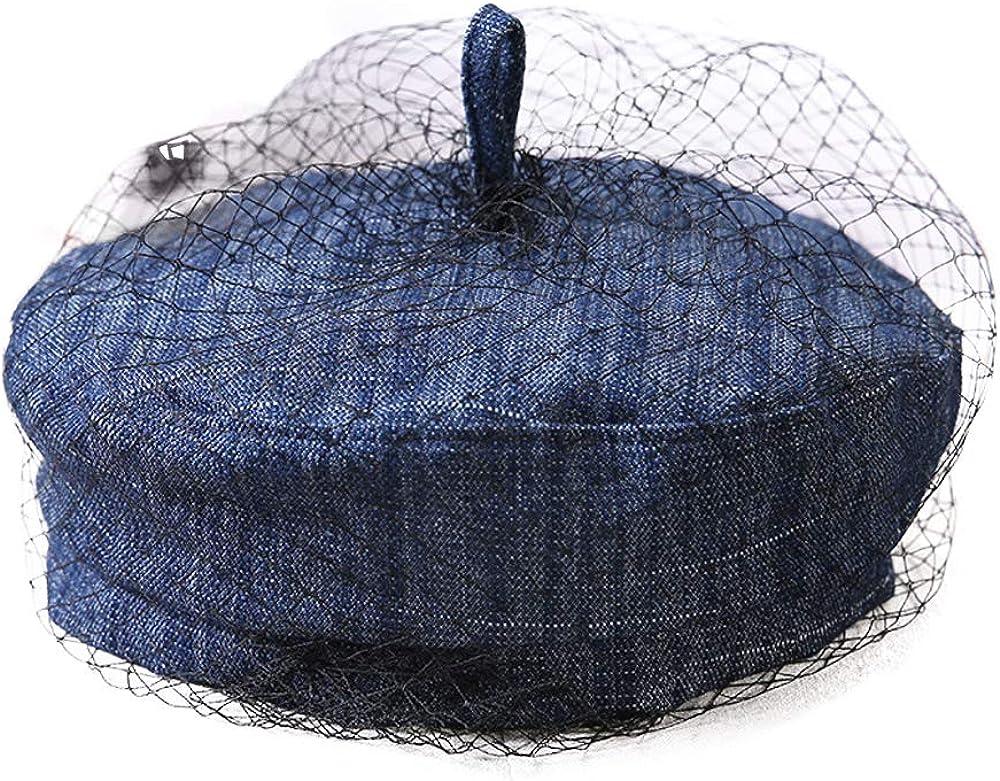 F FADVES Women Newsboy Denim Hat Summer with Veil Cap Beret French Artist Tam Jean Beanie Hat