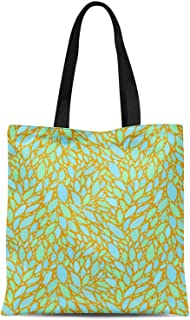 S4Sassy Purple Leaves Leaves Print Canvas Shopping Tote Bag Carrying Handbag Casual Shoulder Bag 16x12 Inches