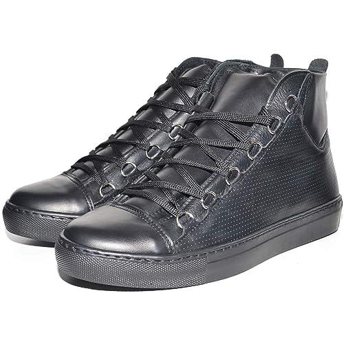 Sneakers Uomo Alta Stringata Nera Pelle Made in Italy Men Shoes Scarpe 3236f287cb6