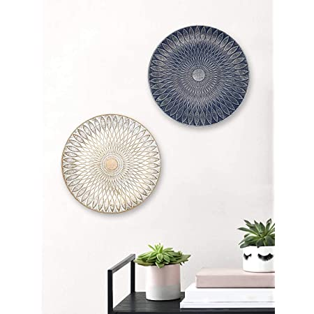 Art Street Blue & White Color Set of 2 MDF Decorative Wall Plates,Wall Decor Plates for Home & Office-Size-7.5x7.5 Inches