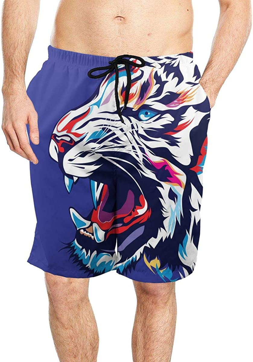 DASMUS Color Tiger Face Men Drawstring Beach Board Shorts Swim Trunks with Mesh Lining