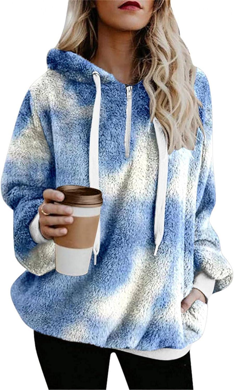 HCNTES Hoodies for Women Long Sleeve Zip Up Sweatshirt Fleece Tie Dye Pullover Outwear Oversize Coat with Pockets