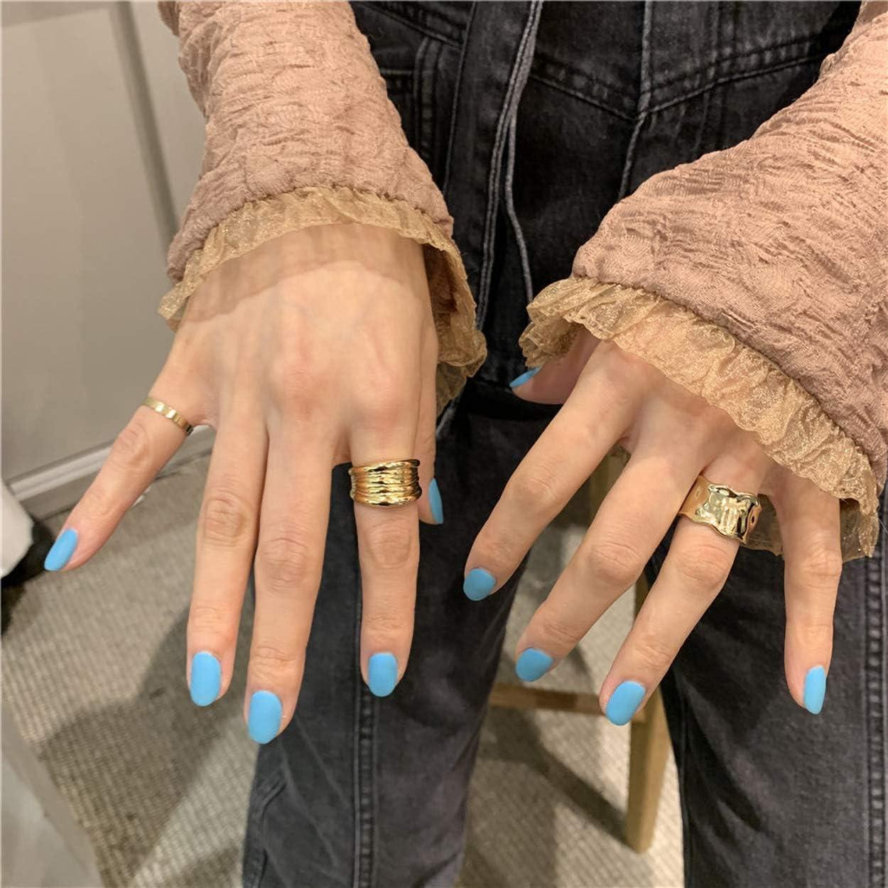 WAINIS 6 Pcs Chunky Gold Open Rings for Women Statement Boho Adjustable Rings Set